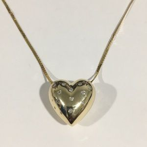Jewelry - 14k Yellow Gold 3D Heart ❤️ W/Diamonds & Sapphires